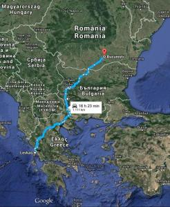 Harta Traseu Bucuresti Lefkada