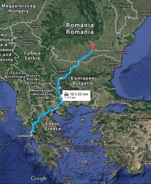 Harta Traseu Bucuresti Lefkada Infoholidays