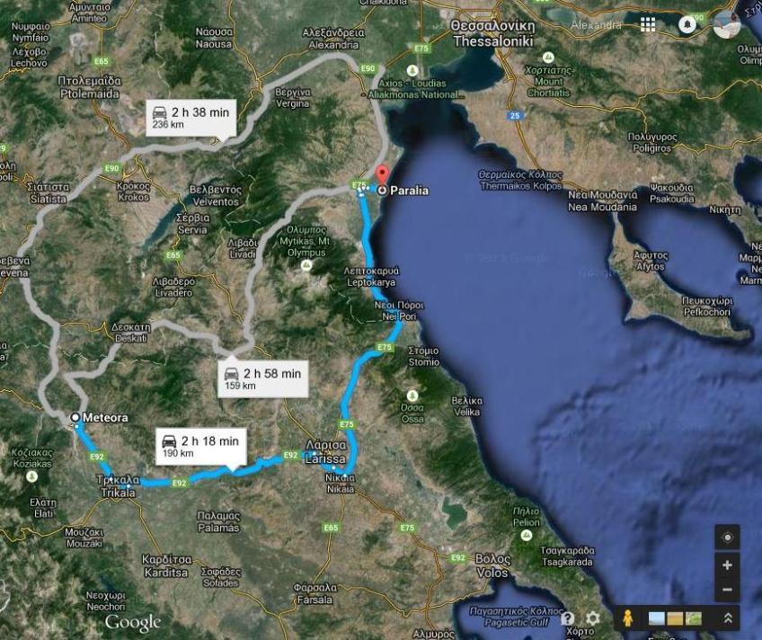 Harta Traseu Paralia Katerin I Meteora Infoholidays