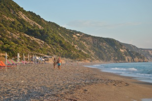 Walking at Gialos Beach Lefkada