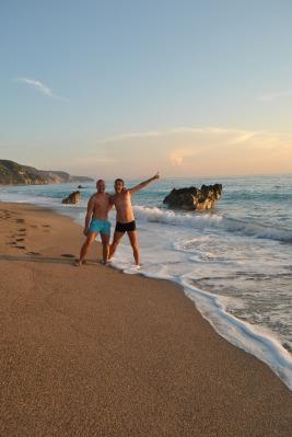 Having fun at Gialos Beach