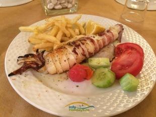 "O varianta mult mai sanatoasa a Kalamarului este varianta ""la gratar"". Gustul bun, aromat si fraged este completat de garnitura de cartofi si salata greceasca ( horiatiki)."