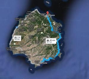 Harta Plaja Giola-Thassos