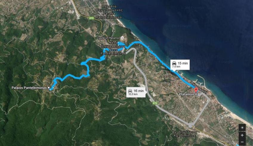 Harta Satul Paleo Pandeleimonas Traseu Din Platamonas Infoholidays