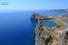 Lindos Insula Rodos - vedere panoramica de la Acropole asupra plajei Agios Pavlos