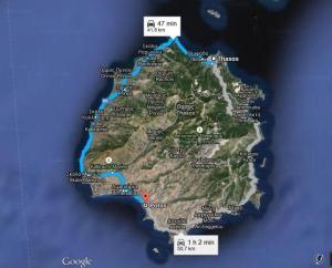 Harta Potos - Insula Thassos