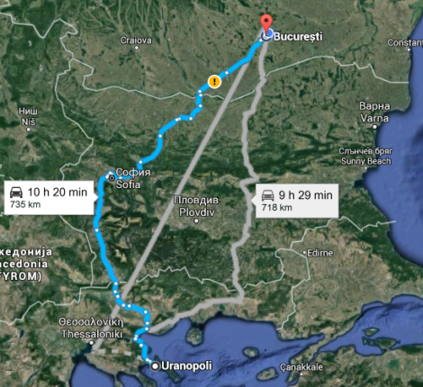 Harta Traseu Bucuresti- Muntele Athos